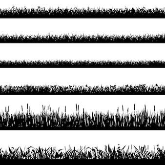Sylwetki granicy trawy. czarne sylwetki trawy, granice ziołowe środowiska naturalnego, panorama trawy. zestaw symboli elementów trawnika krajobrazowego. ilustracja granica trawy, linia lato roślin