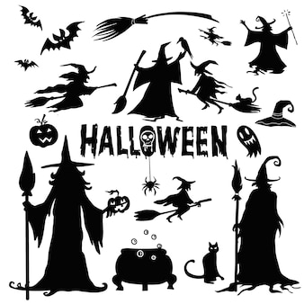 Sylwetki halloween. czarownica, dynia, nietoperz, pająk. impreza halloween'owa. naklejka. cukierek albo psikus.