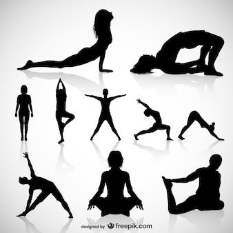 Sylwetki jogi wektorowych.