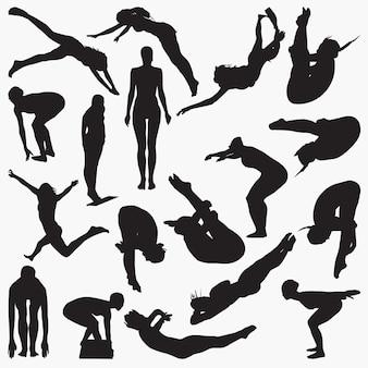 Sylwetki kobiet diver