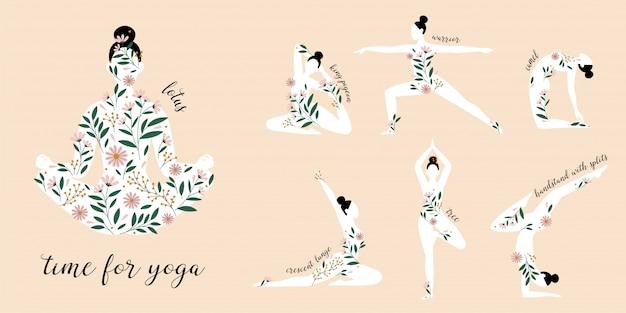 Sylwetki kobiet stojących w różnych pozycjach jogi ozdobione kwiatami.