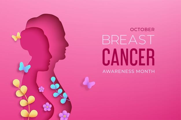 Sylwetki kobiet w stylu cięcia papieru z cieniem na różowym tle. październik to światowy miesiąc świadomości raka piersi. widok z przodu kobiety, kwiaty, gałęzie, motyle. ilustracja.