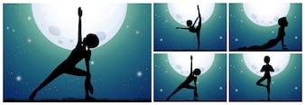 Sylwetki kobieta robi joga na fullmoon nocy