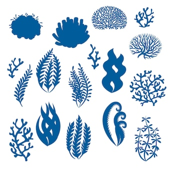 Sylwetki koralowców i wodorostów rośliny podwodne rafa morska chwasty akwarium elementy kwiatowe