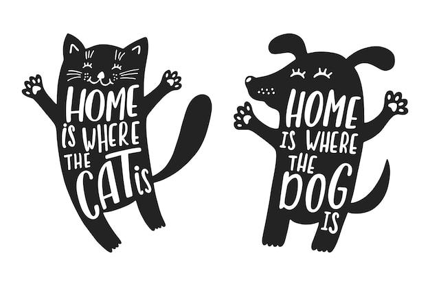 Sylwetki kotów i psów z zabawnym cytatem o domu.
