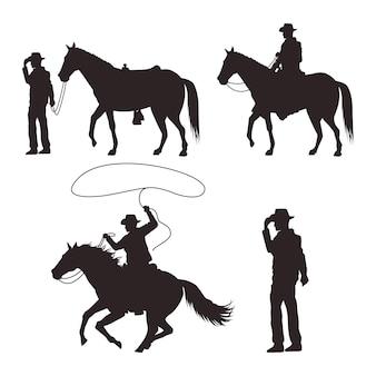 Sylwetki kowbojów z bronią i końmi