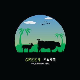 Sylwetki krów, kóz i ptaków na farmie