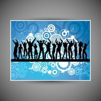 Sylwetki ludzi tańczących na tle grunge