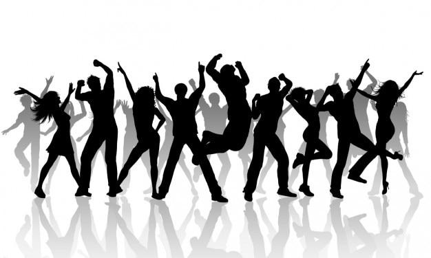 Sylwetki ludzi tańczących