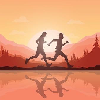 Sylwetki maratończyków.