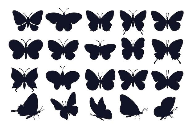 Sylwetki motyli. różne rodzaje ikon motyli.
