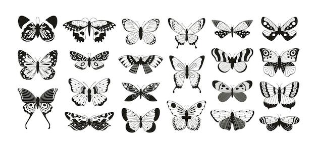 Sylwetki motyli. wycinany laserowo kontur z motywem skrzydeł motyla i ćmy. latający owad dekoracyjny. motyle tatuaż wektor zestaw. tatuaż motyla ważka, latająca ćma czarno biała ilustracja