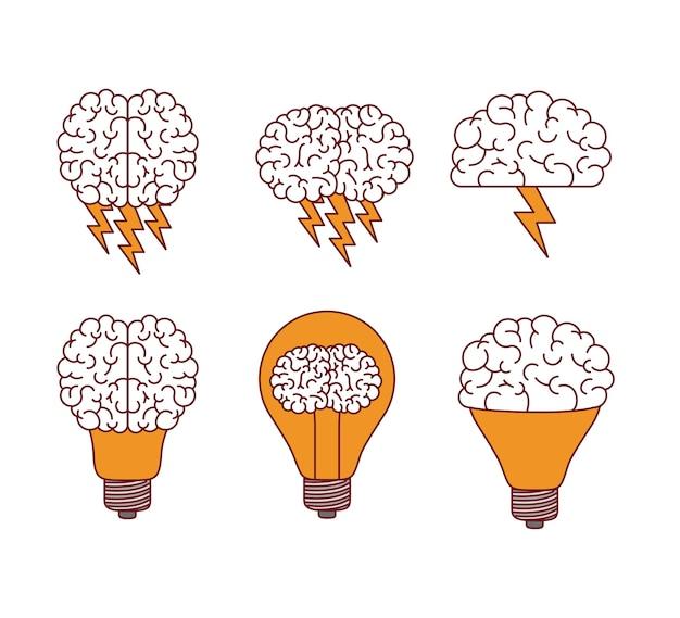 Sylwetki mózgu z błyskawic i żarówek
