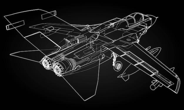 Sylwetki myśliwców wojskowych. obraz samolotu w konturowe linie rysunkowe. struktura wewnętrzna samolotu.