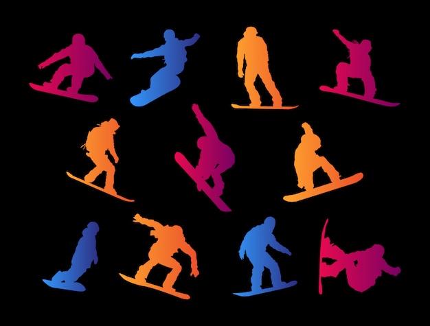Sylwetki na snowboardzie.