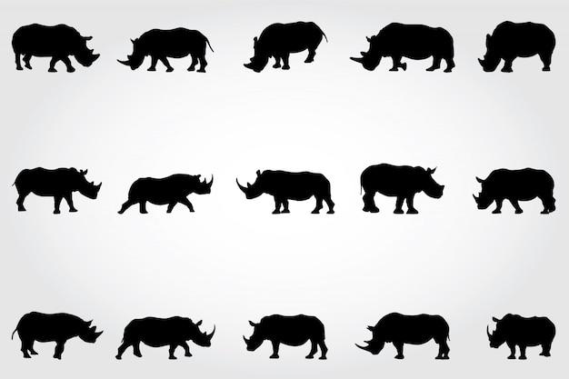 Sylwetki nosorożców