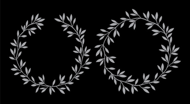 Sylwetki okrągłe ramki kwiatowy wzór