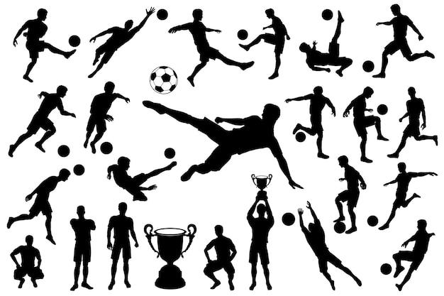 Sylwetki piłkarzy i piłka. bramkarz piłki nożnej. drużynowy mistrz z pucharem. zestaw ilustracji wektorowych na białym tle