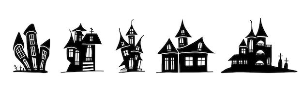 Sylwetki przerażających domów w stylu bazgroły.