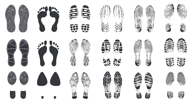 Sylwetki śladu. boso, tenisówka i buty z brudną teksturą. chodzenie ślady butów, odciski stóp wektor na białym tle zestaw