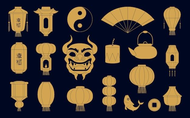 Sylwetki symboli azjatyckich. chińskie złote lampiony papierowe maska smoczej ryby i monet. tradycyjne świąteczne ilustracje chin.