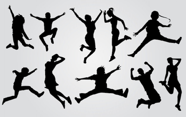 Sylwetki szczęśliwych ludzi skaczących. sylwetki grupa ludzi skacze na białym tle. koncepcja szczęśliwego świętowania.