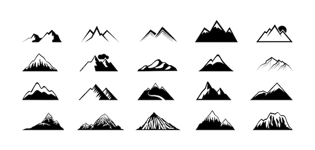 Sylwetki szczyt góry. czarne wzgórza, szczytowe skały. symbole gór, sporty ekstremalne turystyka wspinaczka podróże lub przygody. wektor elementy krajobrazu geologii na białym tle. ilustracja wspinaczki górskiej