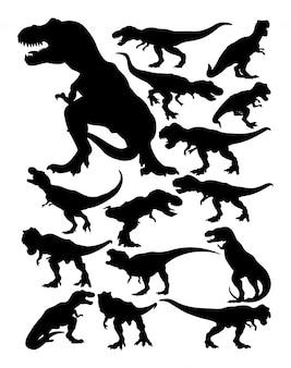 Sylwetki tyranozaura rex.
