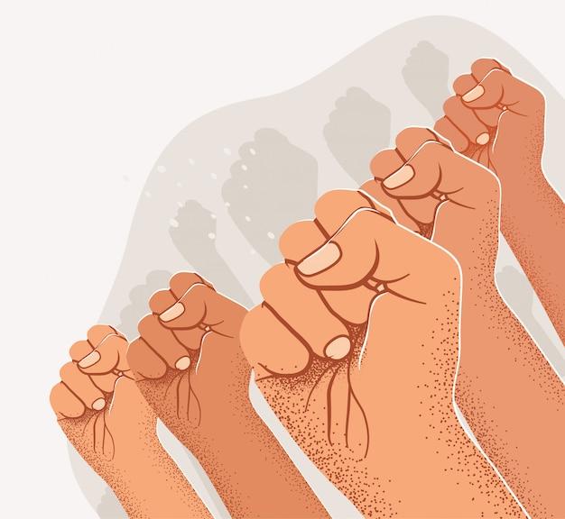 Sylwetki uniesionych pięści. koncepcja projektu transparentu demonstracji publicznej lub protestu.
