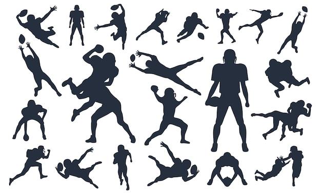 Sylwetki ustawić graczy futbol amerykański