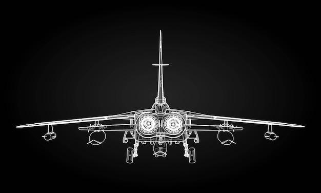 Sylwetki wojskowych myśliwców odrzutowych obraz samolotu w konturowych liniach rysunkowych