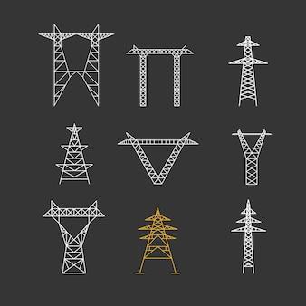 Sylwetki wysokiego napięcia elektryczny post zestaw ikon cienka linia na czarnym tle technologii infrastruktury elektrycznej.