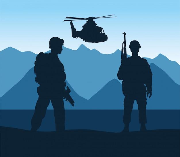 Sylwetki żołnierzy i helikopterów na scenie obozowej