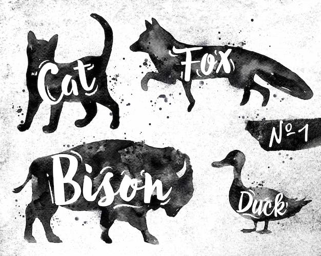 Sylwetki zwierzęcy kot, lis, żubr, kaczka