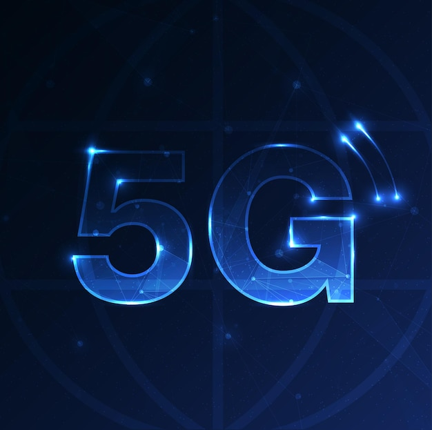 Symbol 5g nowe bezprzewodowe połączenie internetowe wi-fi piąta innowacyjna generacja globalnej wysokiej prędkości