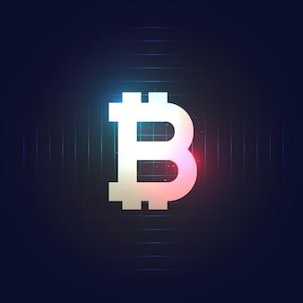 Symbol bitcoin na ciemnym niebieskim tle