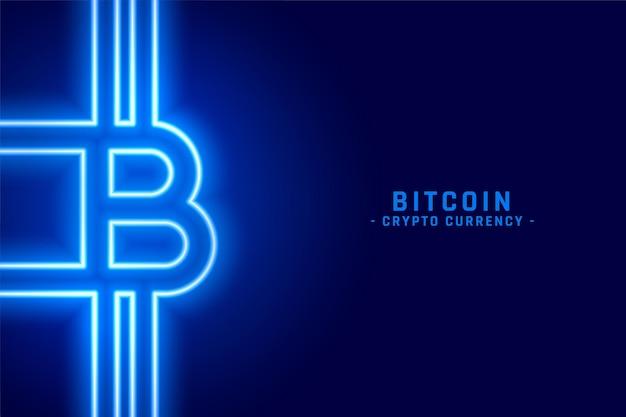 Symbol biycoin wykonany w stylu neonowym