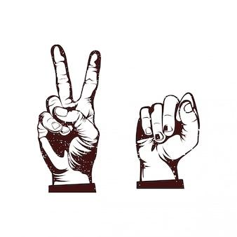Symbol dłoni pokoju i rewolucji