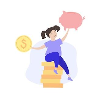 Symbol edukacji finansów dziecka. inwestycja, planowanie budżetu bank i symbol monety.