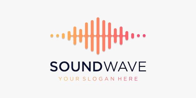Symbol fali dźwiękowej z pulsem. element odtwarzacza muzyki. logo szablon muzyka elektroniczna, korektor, sklep, muzyka dj, klub nocny, dyskoteka. koncepcja logo fali dźwiękowej, technologia multimedialna, abstrakcyjny kształt.