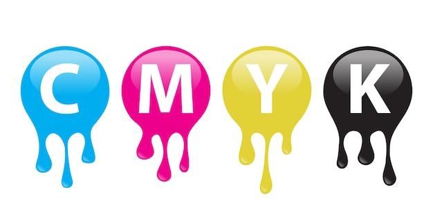 Symbol farby cmyk. rozlane farby. element . ilustracja.