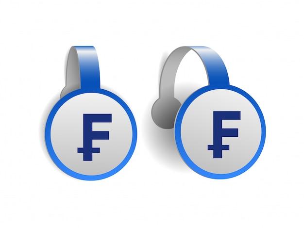Symbol franka szwajcarskiego na niebieskich woblerach reklamowych. ilustracja znaku waluty szwajcarii na etykiecie transparentu. symbol jednostki monetarnej. ilustracja na białym tle