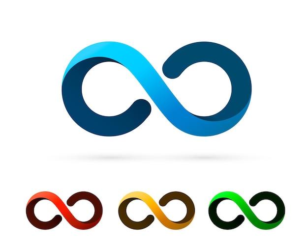 Symbol informacji o sztuce nieskończoności, kolekcja zestaw kolorów. ilustracja wektorowa