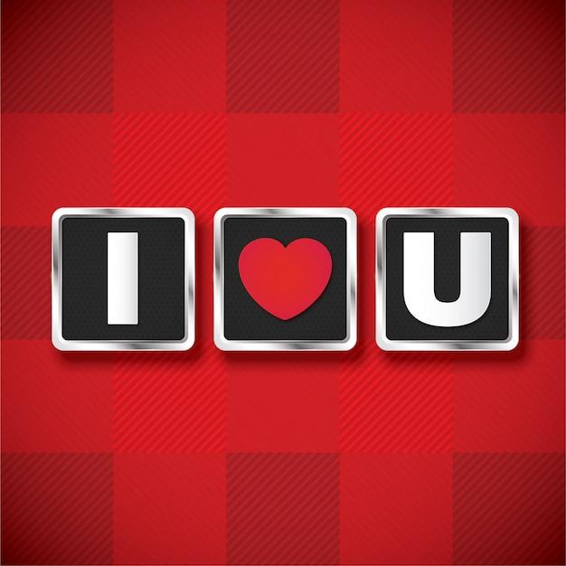 Symbol kocham cię 3d tekst na walentynki.