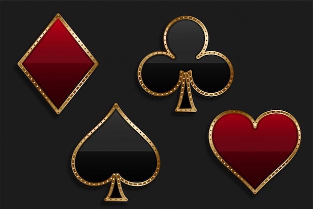 Symbol komplet kart do gry w błyszczący luksusowy styl