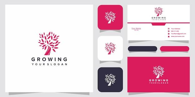 Symbol kreatywne rosnące logo z logo drzewa i projekt wizytówki