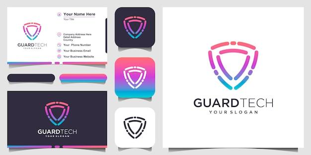 Symbol kreatywny tarcza koncepcja logo szablony. wizytówka