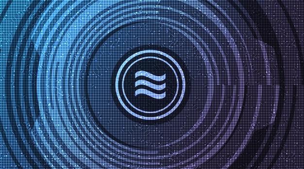 Symbol kryptowaluty libra na tle technologii sieciowej, koncepcji blockchain i portfela
