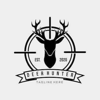 Symbol logo myśliwego. vintage łowca jeleni logo wektor ilustracja projektu