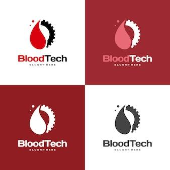 Symbol logo pixel blood, szablon projektów logo blood healthcare, wektor koncepcji projektowania logo blood technology